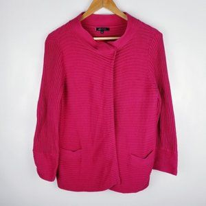 Anne Klein Size Medium Pink Ribbed Cardigan